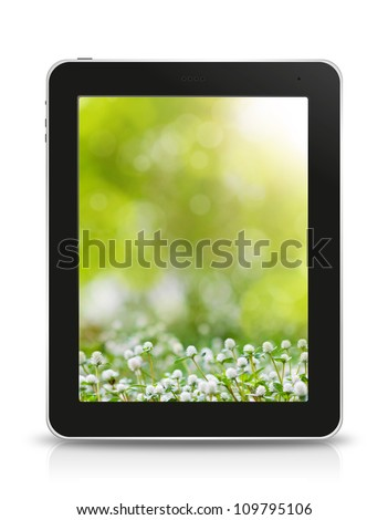 green bokeh wallpaper in tablet pc, isolated on background white