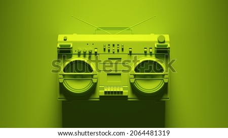 Green Boombox Post-Punk Stereo with Green Background 3d illustration render