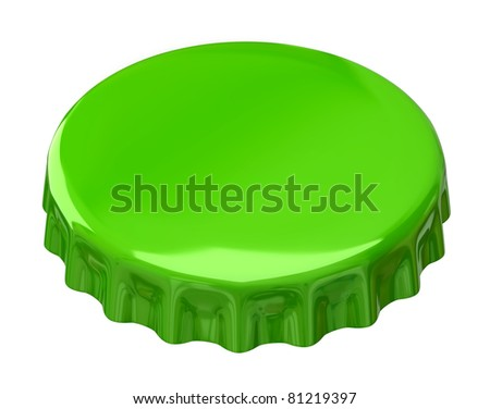 Green bottle cap isolated on white background