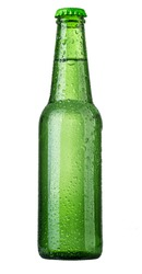 Green bottle isolated on white background