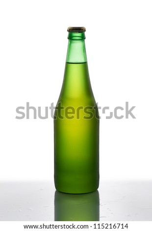 Green bottle of beer on a white background
