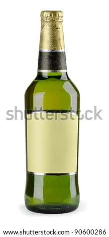 Green bottle of beer with blank label isolated on white