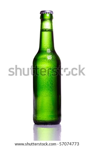 Green bottle of beer with water drops