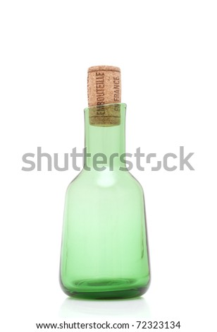 Green bottle with cork isolated on white