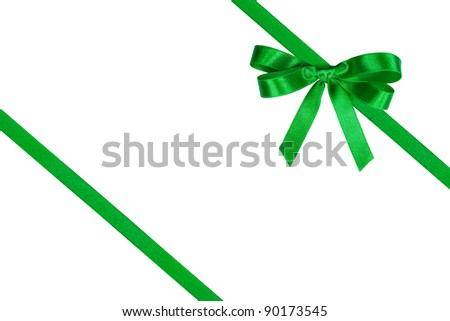 Green bow and two slanting ribbons against white.