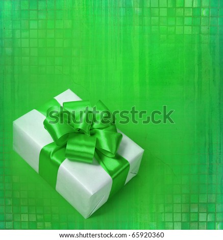 green bow and white box