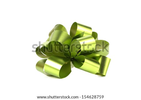 Green bow. Isolated on a white background.