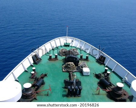 green bow of huge passenger ship over sea