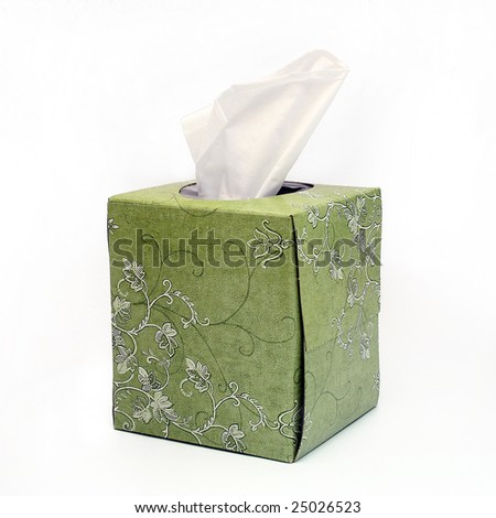 Green Box of Tissues on White Background - stock photo