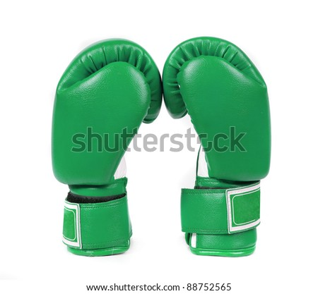 Green boxing gloves on a white background close up Zdjęcia stock ©