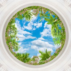 Green branches against the background of the summer sky. Art ceiling. 3D wallpaper. Look up.digital fresco.3D rendering.