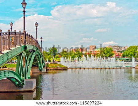 Green Bridge and Big Fountain in Tsaritsino Park, Moscow, Russia, East Europe - stock photo