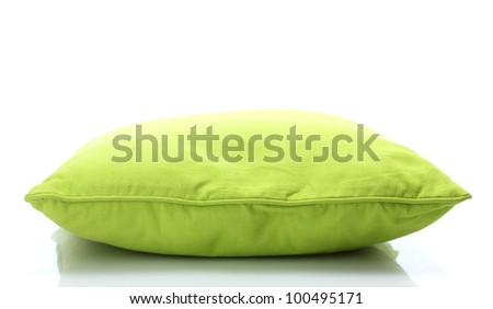 green bright pillow isolated on white