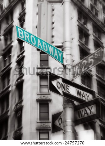 green broadway street sign, black and white photo, new york #24757270