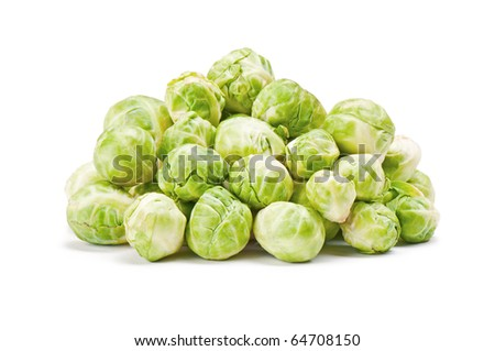 Green brussels sprouts isolated on white background