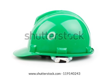 green builder hardhat isolated on white