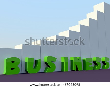 green business word stand along with building blocks