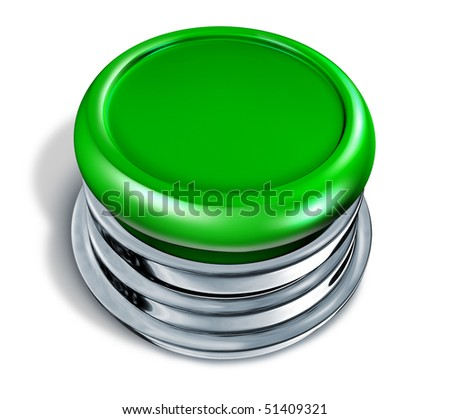 green Button blank isolated on white background