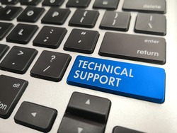 Green button on the keyboard written TECHNICAL SUPPORT