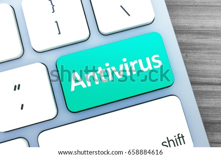Green button with antivirus word on the keyboard close-up in the design of information related to computer technology. 3d illustration