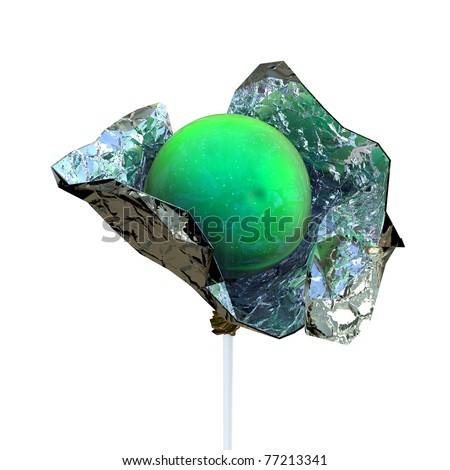 green candy in foil