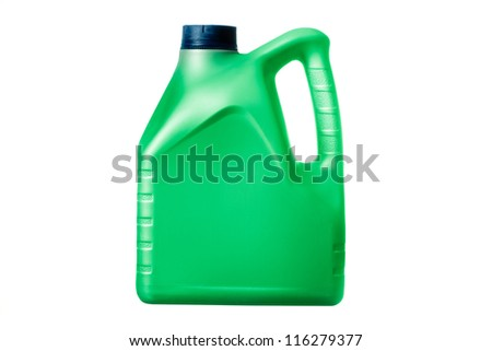 green canister with machine oil on white background