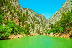 Green Canyon. Natural beauty of Turkey. Summer landscape with mountains and forest, turquoise lake.