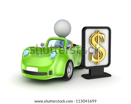 Green car and black lightbox with golden dollar sign.Isolated on white background.3d rendered.