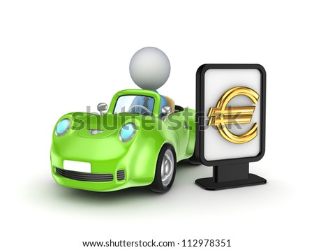 Green car and black lightbox with golden euro sign.Isolated on white background.3d rendered.