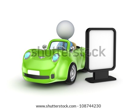 Green car and lightbox.Isolated on white background.3d rendered.