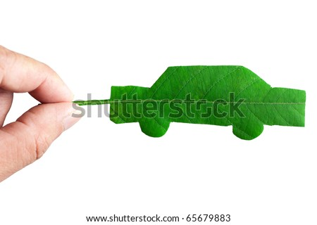 Green car cut from leaf