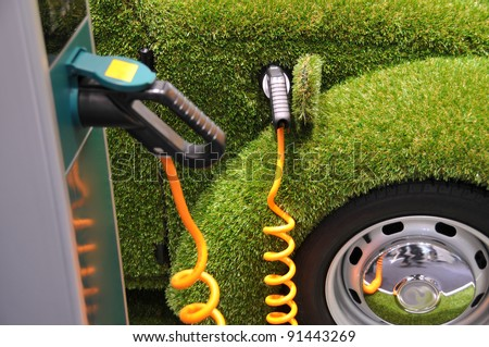 Green car power refueling - ecology concept