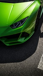 Green car supercar headlights sportcar Lambo