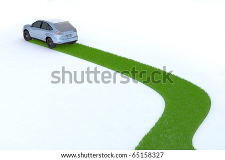 green car, the way of the future, 3d illustration