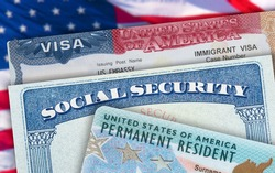 Green Card US Permanent resident USA. Social Security card. VISA United States of America. Electronic Diversity Visa Lottery. DV-2022 DV Lottery Results. American flag on background.