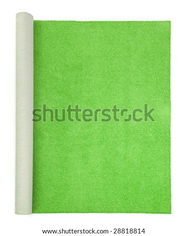 green carpet on white background , top view