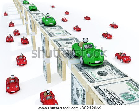 Green cars driving on a bridge made of money and red usual cars downstairs. 3d rendered. Isolated on white.