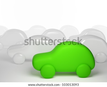 Green cartoon car - eco transport concept
