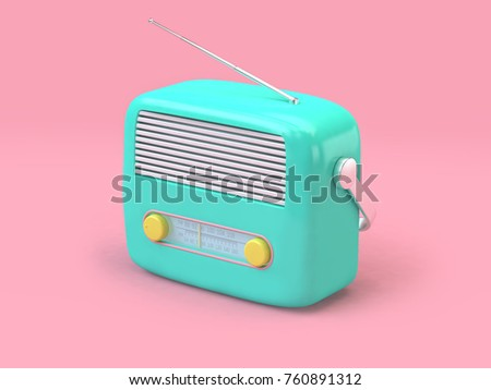 green cartoon radio set on minimal pink background technology concept 3d rendering