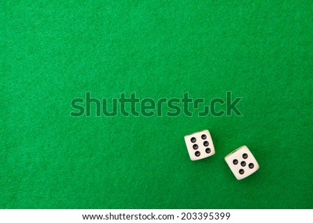Green casino table with dice background