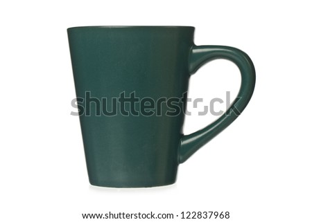 Green ceramic mug isolated in a white background