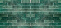 Green ceramic tile background. Old vintage ceramic tiles in green to decorate the kitchen or bathroom.