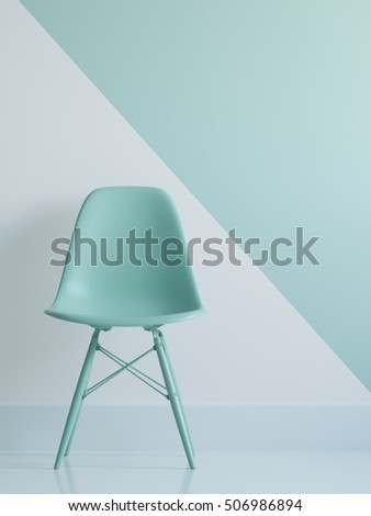 Green chair in living room space green and white background. minimal concept. #506986894