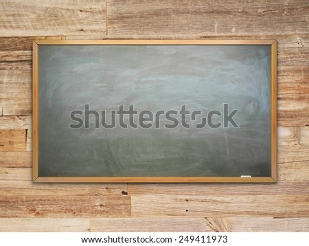 green chalk board with chalk traces and wooden frame