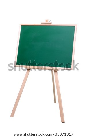 green Chalk Board with wooden frame standing isolated on the white background