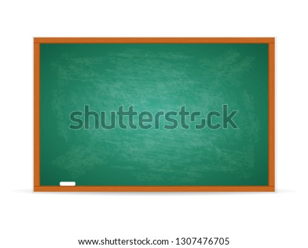 Green chalkboard and wooden frame, rubbed out dirty chalkboard, clipart illustration