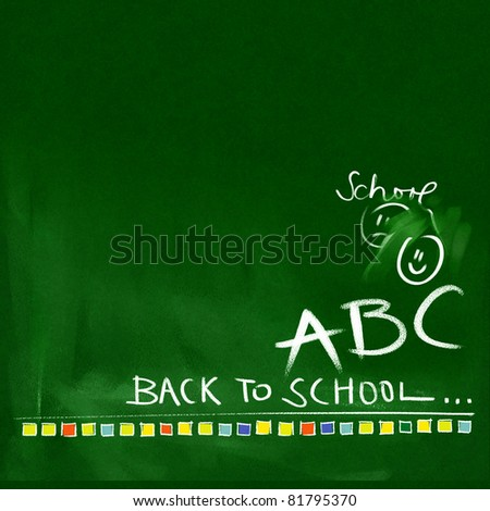 green chalkboard background - back to school doodles