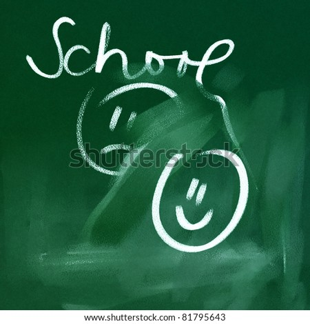 green chalkboard background - back to school doodles (unhappy and happy symbols)