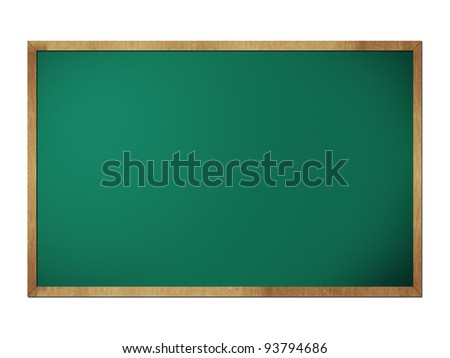 Green chalkboard blackboard with frame isolated on white