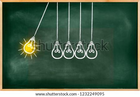 Green chalkboard with a concept of a bulbs pendulum with a bright bulb, Empty Blackboard of blackboard #1232249095